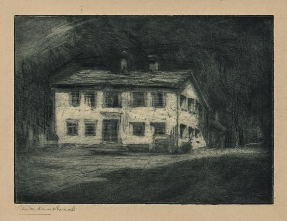 Hermann Struck Nietzsche house in Sils Maria Etching 8.07 by 5.87 inches (20.5 by 14.9 cm) Framed: 17 3/4 x 13 3/4 inches Edition 12 of 150 (Inv# HS2447)