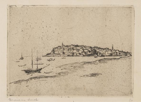 Hermann Struck  Jaffa Etching 7.68 by 5.51 inches (19.5 by 14 cm) Framed: 17 3/4 x 13 3/4 inches Edition I 2 of 30