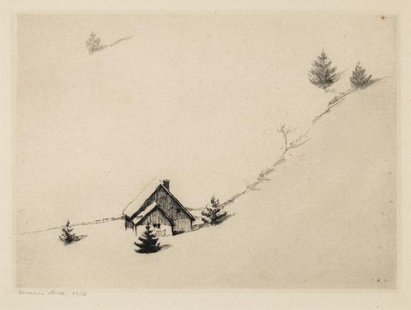 Hermann Struck  Winter Shierke, Germany, 1904 Etching 10.43 by 7.68 inches (26.5 by 19.5 cm) Framed: 17 3/4 x 13 3/4 inches Edition 43 of 50 (Inv# HS2724)