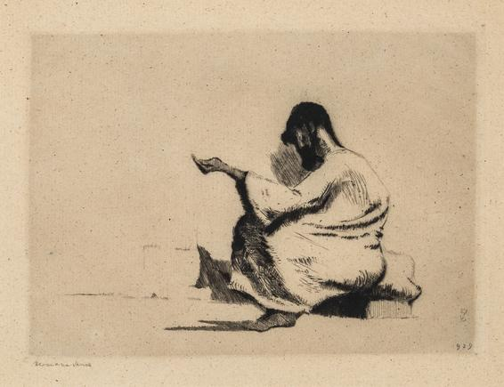 Hermann Struck  Arab Beggar II, 1929 Etching 6.89 by 4.96 inches (17.5 by 12.6 cm) Framed: 17 3/4 x 13 3/4 inches (Inv# HS2123)