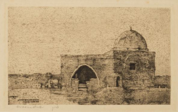 Hermann Struck  Rachel's Tomb, 1903 Etching 9.37 by 5.71 inches (23.8 by 14.5 cm) Framed: 17 3/4 x 13 3/4 inches Edition proof (Inv# HS2925)