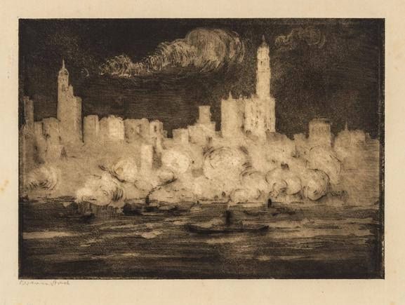 Hermann Struck  View of Manhattan from Brooklyn at Night, , 1912 Etching 8.15 by 5.83 inches (20.7 by 14.8 cm) Framed: 17 3/4 x 13 3/4 inches