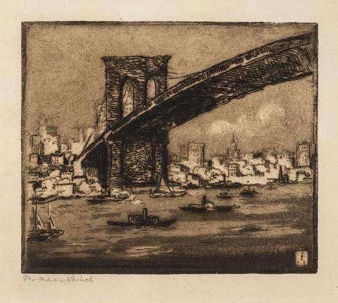 Hermann Struck  New York Brooklyn Bridge II, 1913 Etching 5.83 by 4.96 inches (14.8 by 12.6 cm) Framed: 17 3/4 x 13 3/4 inches