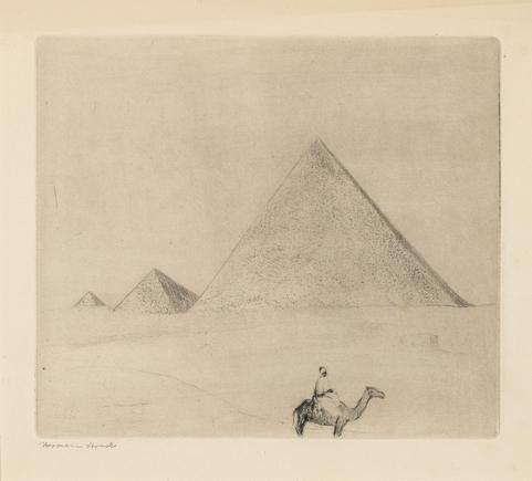 Hermann Struck  Pyramids of Giza, c. 1939 Etching 6.18 by 5.39 inches (15.7 by 13.7 cm) Framed: 17 3/4 x 13 3/4 inches (Inv# HS1998)