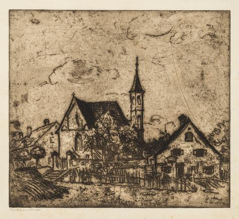 Hermann Struck  Landscape in Lech, VI, 1911 Etching 10.12 by 9.06 inches (25.7 by 23 cm) Framed: 16 1/4 x 15 1/4 inches (Inv# HS2216)