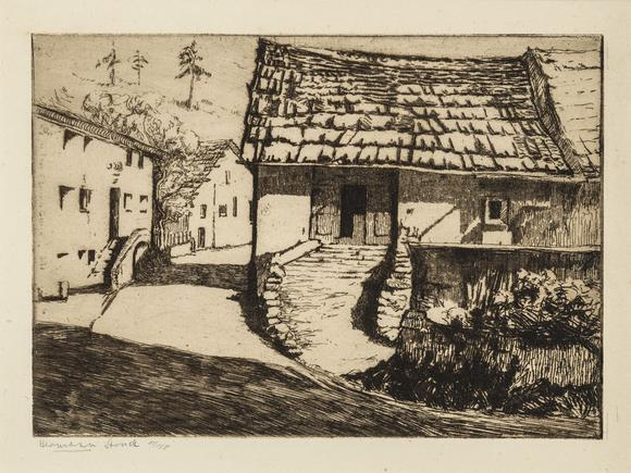 Hermann Struck Sils Baselgia Etching 8.07 by 5.71 inches (20.5 by 14.5 cm) Framed: 17 3/4 x 13 3/4 inches Edition 11 of 150 (Inv# HS2493)
