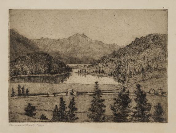 Hermann Struck  Lakes in Engadin, 1905 Etching 8.03 by 5.83 inches (20.4 by 14.8 cm) Framed: 17 3/4 x 13 3/4 inches Edition 32 of 150 (Inv# HS2442)
