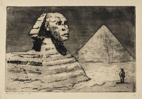 Hermann Struck  Sphinx II, 1939 Etching 8.03 by 5.28 inches (20.4 by 13.4 cm) Framed: 17 3/4 x 13 3/4 inches Edition VII (Inv# HS1977.1)