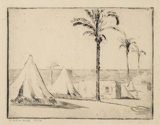 Hermann Struck  Haifa XI, c. 1923 Etching 7.68 by 5.83 inches (19.5 by 14.8 cm) Framed: 17 3/4 x 13 3/4 inches Edition 24 of 50 (Inv# HS2687)