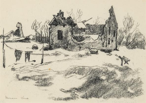 Hermann Struck  Bombed house, c. 1917 Lithograph 7.48 by 5.31 inches (19 by 13.5 cm) Framed: 17 3/4 x 13 3/4 inches (Inv# HS173)