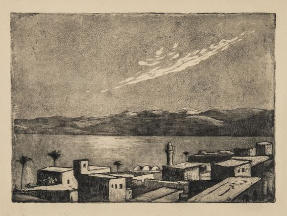 Hermann Struck  Tiberias I, moonlight Etching 8.07 by 5.87 inches (20.5 by 14.9 cm) Framed: 17 3/4 x 13 3/4 inches (Inv# HS1956.1)
