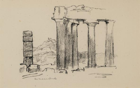 Hermann Struck (1876-1944) Ruins, Greece, c. 1935 Lithograph 8.86 by 5.55 inches (22.5 by 14.1 cm) Framed: 17 3/4 x 13 3/4 inches (Inv# HS406)