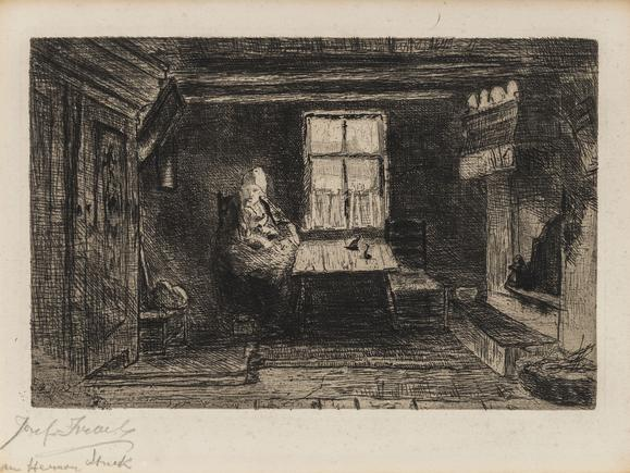 Hermann Struck  After Joseph Israels Etching 9.06 by 6.02 inches (23 by 15.3 cm) Framed: 17 1/4 x 13 3/4 inches (Inv# HS3110)