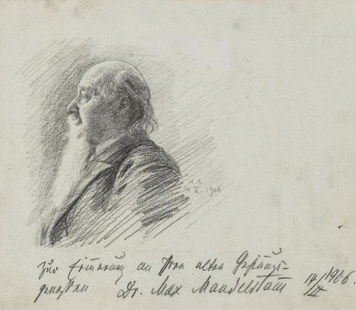 Hermann Struck  Portrait of Dr. Max Mandelstein, 1906 Graphite on paper 7.09 by 6.1 inches (18 by 15.5 cm) Framed: 11 1/2 x 11 inches (Inv# HS3117)