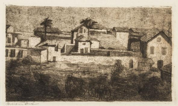 Hermann Struck  Jaffa, 1905 Etching 9.45 by 5.39 inches (24 by 13.7 cm) Framed: 15 1/2 x 11 1/2 inches