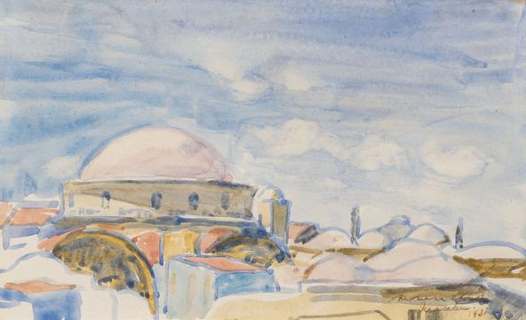 Hermann Struck  Jerusalem Watercolor on paper 8.9 by 5.35 inches (22.6 by 13.6 cm) Framed: 14 1/2 x 11 1/2 inches (Inv# HS3144)