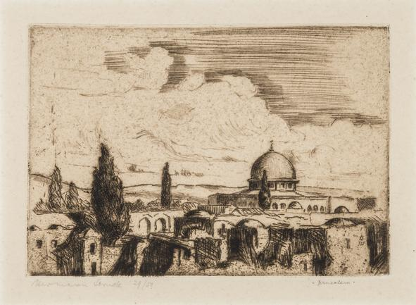 Hermann Struck  Jerusalem (small) Etching 5.55 by 3.98 inches (14.1 by 10.1 cm) Framed: 11 x 9 inches Edition 29 of 50