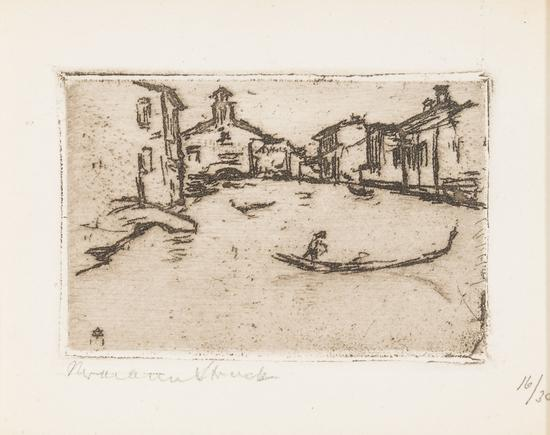Hermann Struck  Venice, Grande Canal, 1911 Etching 2.68 by 1.69 inches (6.8 by 4.3 cm) Framed: 17 1/2 x 13 3/4 inches Edition of 30