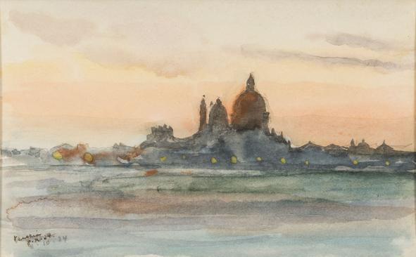 Hermann Struck  Venice Watercolor on paper 5.71 by 3.46 inches (14.5 by 8.8 cm) Framed: 21 x 19 inches