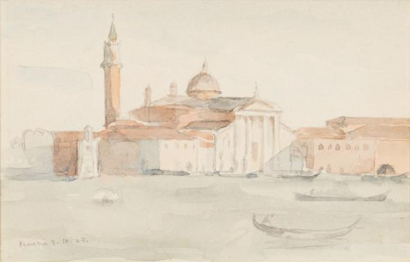 Hermann Struck  Venice Watercolor on paper 5.71 by 3.58 inches (14.5 by 9.1 cm) Framed: 21 x 19 inches (Inv# HS3107)