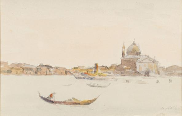 Hermann Struck  Venice Watercolor on paper 5.71 by 3.58 inches (14.5 by 9.1 cm) Framed: 21 x 19 inches (Inv# HS3108)