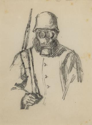 Hermann Struck  WWI, soldier with gas mask, Sketches from Russia, at the front before Riga, c. 1917 Lithograph 6.69 by 8.86 inches (17 by 22.5 cm) Framed: 13 3/4 x 17 3/4 inches (Inv# HS1206)