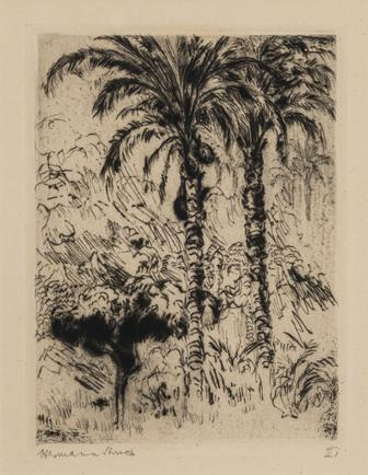 Hermann Struck  Cuba, c. 1913 Etching 4.06 by 5.43 inches (10.3 by 13.8 cm) Framed: 13 3/4 x 17 3/4 inches (Inv# HS992)