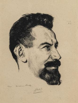 Hermann Struck  Portrait of Salman Schneur, 1922 Lithograph 8.07 by 10.63 inches (20.5 by 27 cm) Framed: 13 3/4 x 17 3/4 inches Edition 136 of 150 Front: signed in pencil, lower left initialed on plate