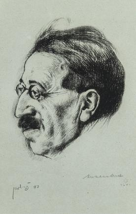 Hermann Struck  Portrait of David Frishman, Lithograph 7.09 by 10.91 inches (18 by 27.7 cm) Framed: 10 1/4 x 14 1/4 inches Front: signed in pencil, lower right, initialed on plate