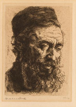 Hermann Struck  Polish Rabbi, c. 1901 Etching 4.92 by 6.85 inches (12.5 by 17.4 cm) Framed: 17 1/4 x 19 3/4 inches Edition 109 of 150 (Inv# HS3424)