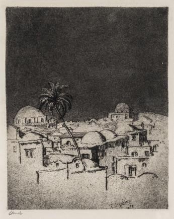 Hermann Struck  Jerusalem Etching 6.14 by 7.68 inches (15.6 by 19.5 cm) Framed: 11 1/4 x 12 1/2 inches