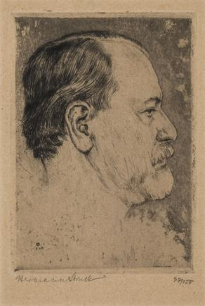 Hermann Struck  Portrait of Sigmund Freud, 1914,1920 Etching 3.94 by 5.59 inches (10 by 14.2 cm) Framed: 9 1/2 x 11 3/4 inches Edition 77 of 150 (Inv# HS3116)