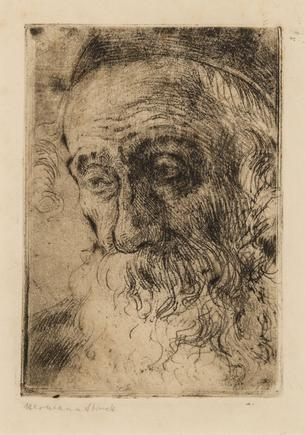 Hermann Struck  old Jew in Jaffa, 1905 Etching 4.13 by 5.83 inches (10.5 by 14.8 cm) Framed: 10 1/4 x 12 1/2 inches (Inv# HS2538.1)