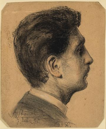 Hermann Struck Self Portrait Crayon on paper 3.98 by 4.72 inches (10.1 by 12 cm) Framed: 12 1/2 x 13 1/2 inches (Inv# HS3100)