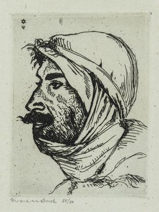 Hermann Struck  Arab I, c. 1923 Etching 3.54 by 4.84 inches (9 by 12.3 cm) Framed: 7 1/2 x 9 inches Edition 35 of 50 (Inv# HS1699)