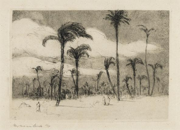 Hermann Struck  Haifa V, c. 1923 Etching 7.87 by 5.51 inches (20 by 14 cm) Framed: 13 1/2 x 11 inches Edition 26 of 50 (Inv# HS924.1)