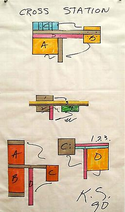 Keith Sonnier Study for Cross Station 1990 Markers on graph paper 26 3/4 x 15 inches (67.9 x 38.1 cm)