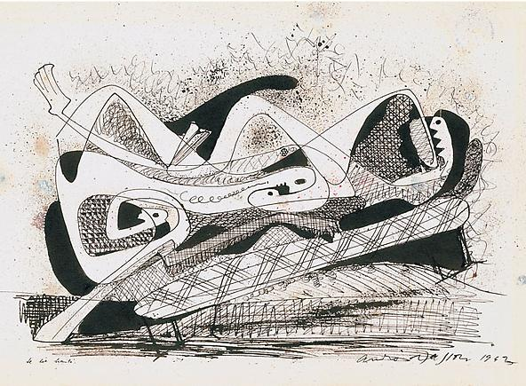Andre Masson Le Lit hante, 1942 Watercolor, pen, brush and India ink on paper 15 5/8 x 22 3/4 inches  (39.8 x 57.8 cm)