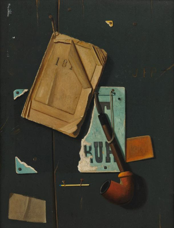 JOHN FREDERICK PETO     (1854 - 1907)<br />Almanac and Pipe<br />c. 1890s<br />oil on paperboard<br />18 1/2 x 14 inches (47 x 35.6 cm)<br />