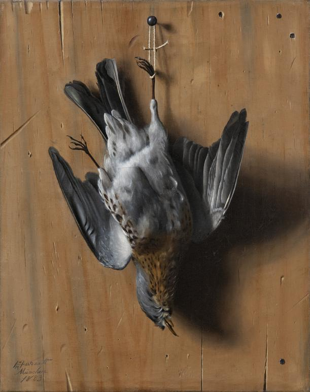 WILLIAM HARNETT      (1851-1892)<br />Still Life of a Dead Fieldfare<br />1883, Munich<br />oil on canvas<br />14 5/8 x 11 3/8 inches (37 x 29 cm)<br />