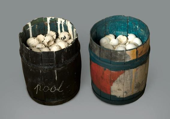 MARCEL BROODTHAERS<br />Pot oeufs<br />1966<br />two wood and metal barrels, egg shells and paint<br />each: 13 x 9 7/8 inches<br />(33 x 25 cm)<br />