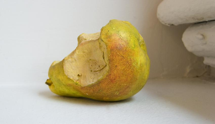 DAVID ADAMO<br />Unitled (pear)<br />2011<br />painted cast plaster<br />3 3/4 x 2 3/4 inches diameter (9.5 x 7 cm)<br />