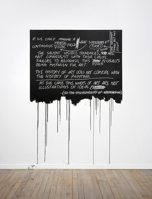 Mel Bochner<br />Recopy (If We Could Imagine)<br />1969 / 2008<br />chalk on paint on wall<br />Installation, Peter Freeman, Inc.<br />