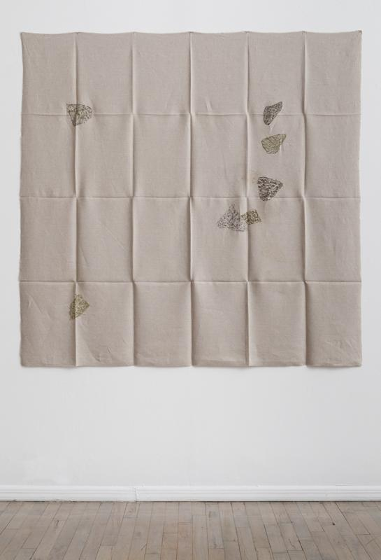 Helen Mirra<br />Hourly directional field notation, 24 July, Handen<br />2011<br />oil and graphite on linen<br />155 x 155 cm<br />