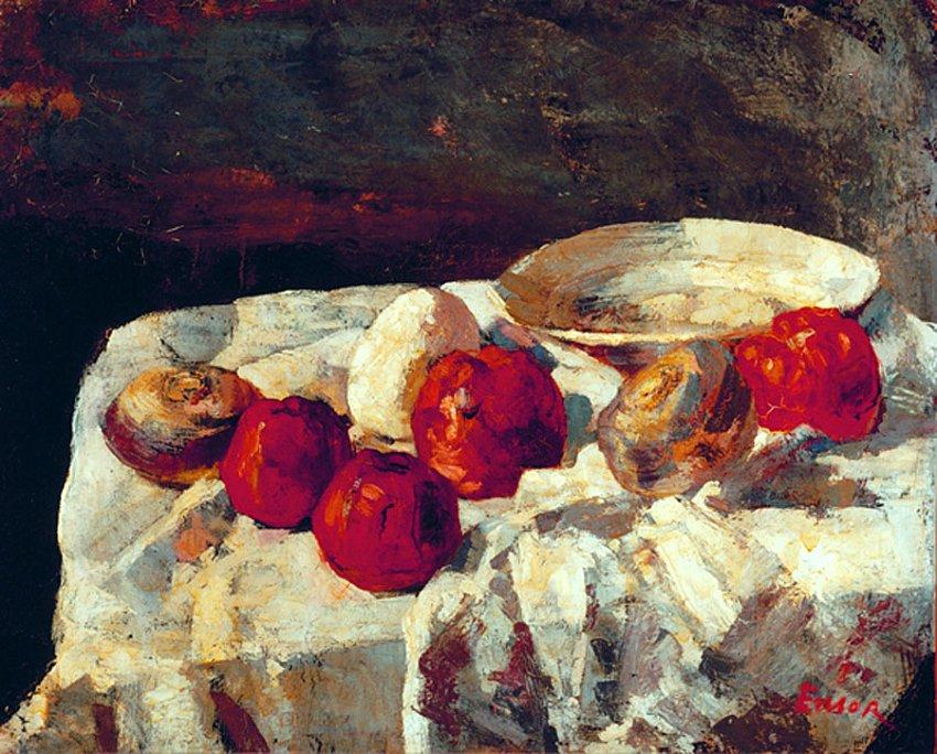 James Ensor<br />Les pommes rouges (The Red Apples)<br />1883<br />oil on canvas<br />61 x 75.5 cm<br />