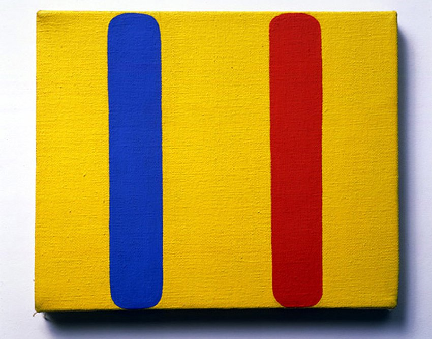Ellsworth Kelly<br />Red Blue Yellow<br />1963<br />oil on canvas<br />8 x 10 inches (20.3 x 25.4 cm)<br />