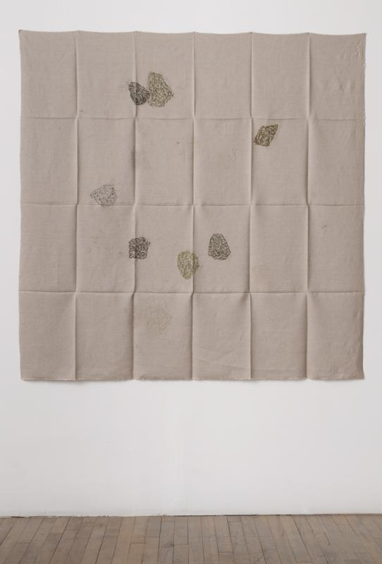 Helen Mirra<br />Hourly directional field notation, 8 August, Handen<br />2011<br />oil and graphite on linen<br />155 x 155 cm<br />