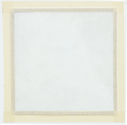 ROBERT RYMAN<br /><i>Untitled</i><br />ca. 1967<br />oil paint on unstretched linen, with masking tape<br />11-3/16 x 11-3/16 inches (28.42 x 28.42 cm)<br />