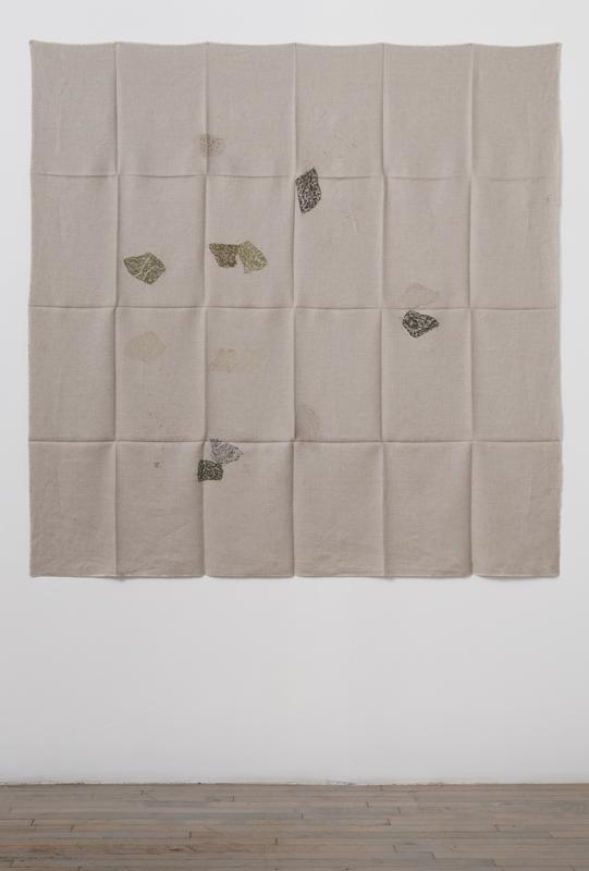 Helen Mirra<br />Hourly directional field notation, 26 August, Järvafältet<br />2011<br />oil and graphite on linen<br />155 x 155 cm<br />
