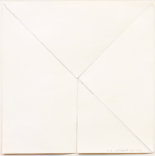 SOL LEWITT  (1928 - 2007)<br /><i>R115</i><br />1973<br />torn paper with traces of graphite<br />12 x 12 inches (30.48 x 30.48 cm)<br />